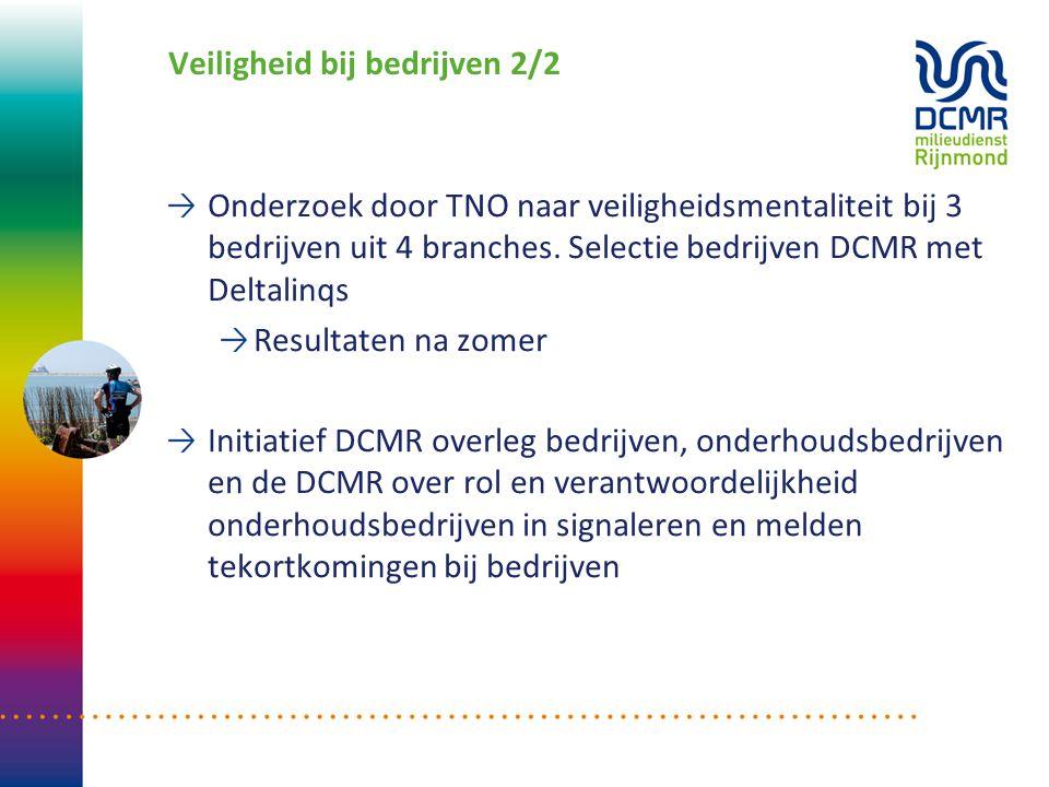 Veiligheid bij bedrijven 2/2 Onderzoek door TNO naar veiligheidsmentaliteit bij 3 bedrijven uit 4 branches. Selectie bedrijven DCMR met Deltalinqs Res