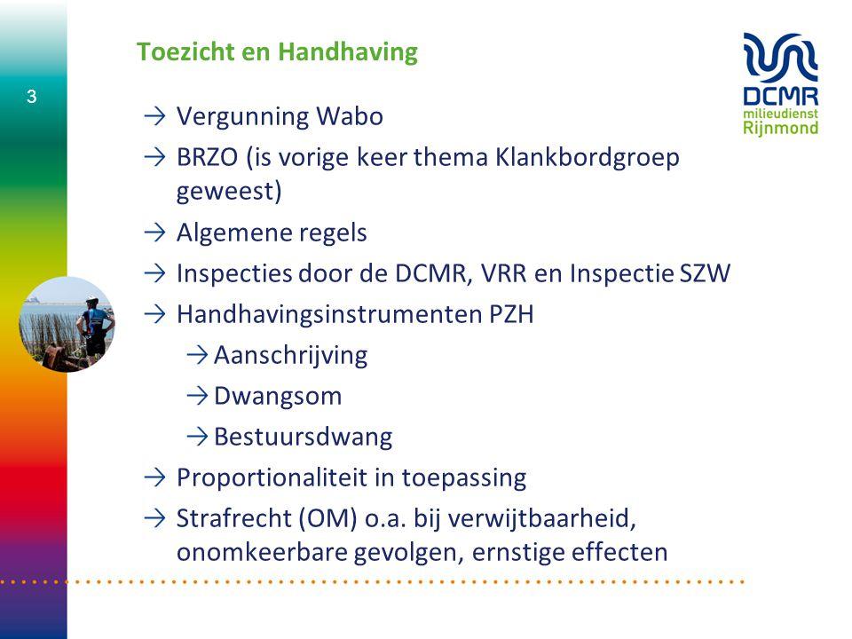 Toezicht en Handhaving Vergunning Wabo BRZO (is vorige keer thema Klankbordgroep geweest) Algemene regels Inspecties door de DCMR, VRR en Inspectie SZ