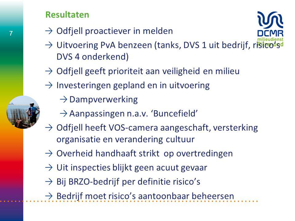 Resultaten Odfjell proactiever in melden Uitvoering PvA benzeen (tanks, DVS 1 uit bedrijf, risico's DVS 4 onderkend) Odfjell geeft prioriteit aan veil