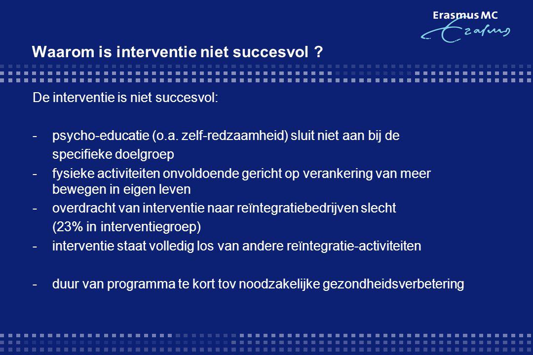 Waarom is interventie niet succesvol ? De interventie is niet succesvol: -psycho-educatie (o.a. zelf-redzaamheid) sluit niet aan bij de specifieke doe