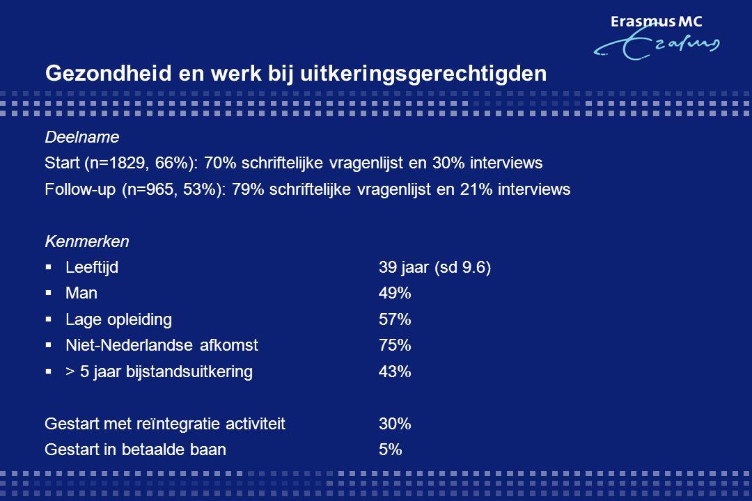 Deelname Start (n=1829, 66%): 70% schriftelijke vragenlijst en 30% interviews Follow-up (n=965, 53%): 79% schriftelijke vragenlijst en 21% interviews