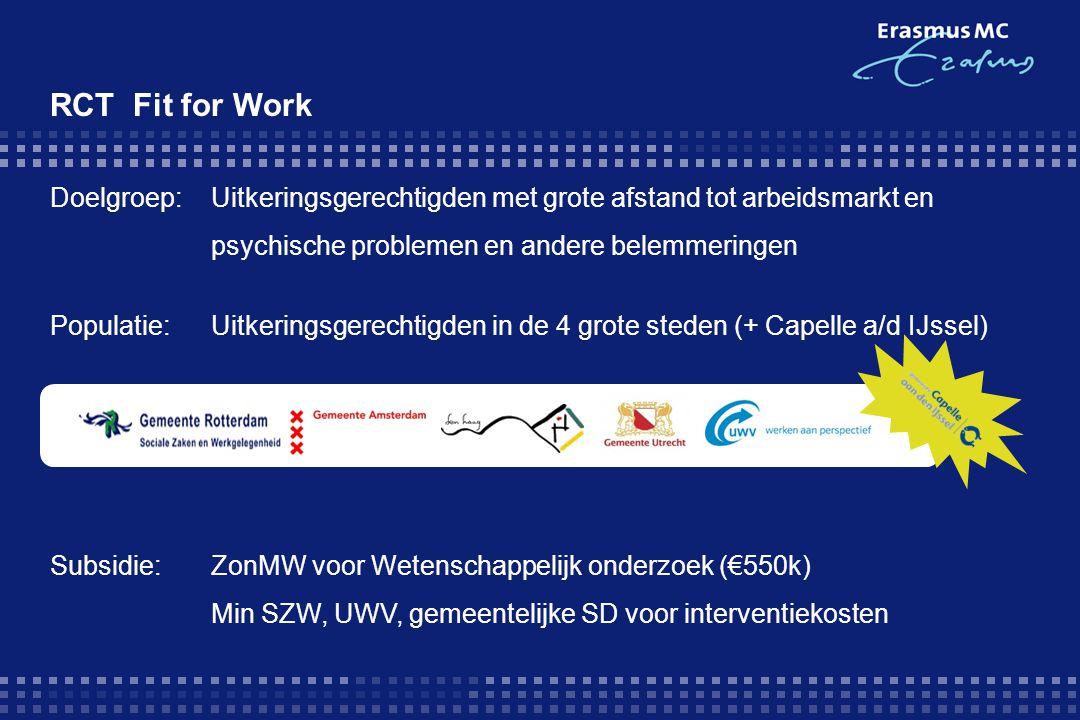 Doelgroep:Uitkeringsgerechtigden met grote afstand tot arbeidsmarkt en psychische problemen en andere belemmeringen Populatie:Uitkeringsgerechtigden in de 4 grote steden (+ Capelle a/d IJssel) Subsidie:ZonMW voor Wetenschappelijk onderzoek (€550k) Min SZW, UWV, gemeentelijke SD voor interventiekosten RCT Fit for Work