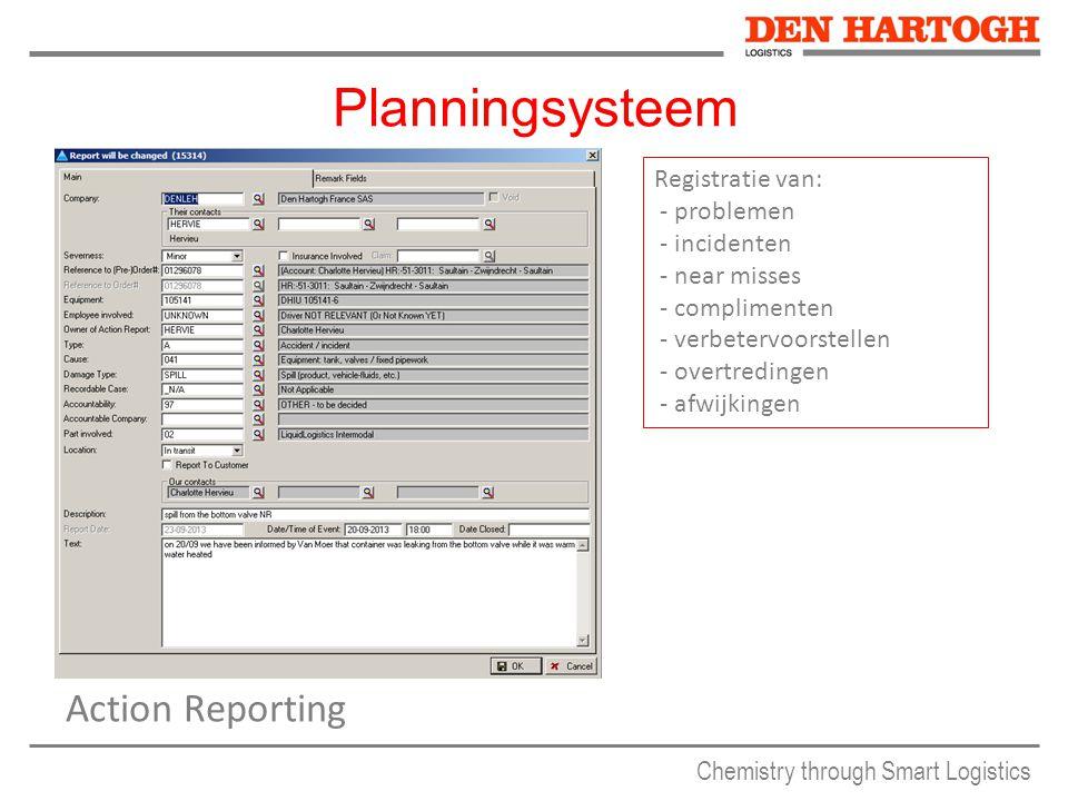 Chemistry through Smart Logistics Planningsysteem Action Reporting Registratie van: - problemen - incidenten - near misses - complimenten - verbetervoorstellen - overtredingen - afwijkingen