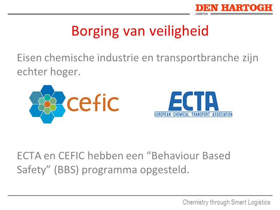 Chemistry through Smart Logistics Borging van veiligheid Eisen chemische industrie en transportbranche zijn echter hoger.