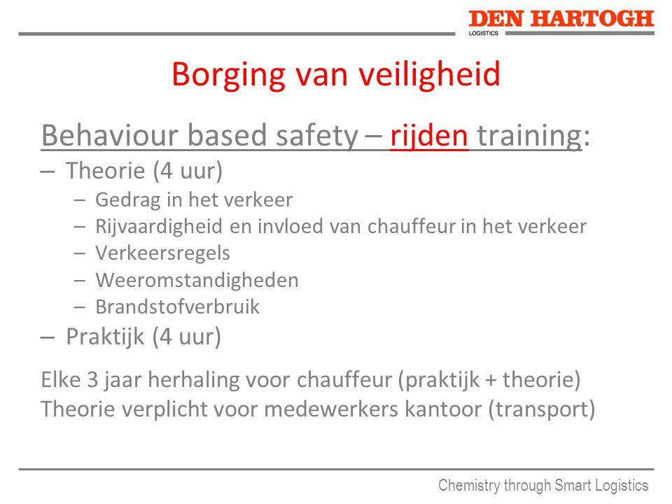 Chemistry through Smart Logistics Borging van veiligheid Behaviour based safety – rijden training: – Theorie (4 uur) –Gedrag in het verkeer –Rijvaardi