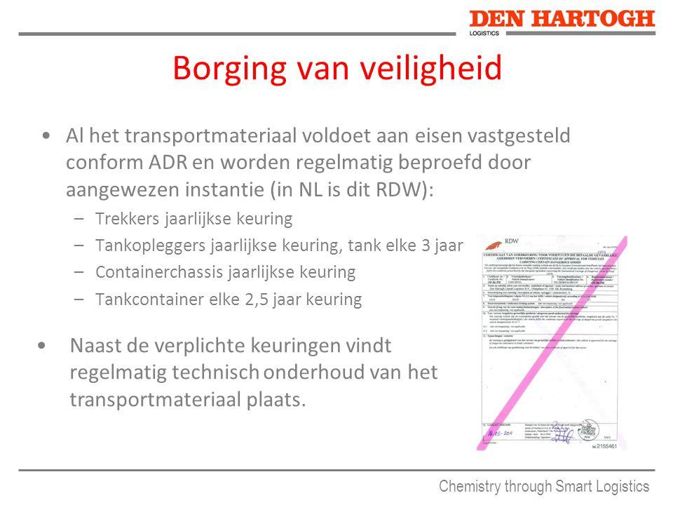 Chemistry through Smart Logistics Borging van veiligheid Al het transportmateriaal voldoet aan eisen vastgesteld conform ADR en worden regelmatig bepr