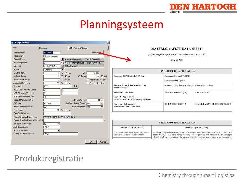 Chemistry through Smart Logistics Planningsysteem Produktregistratie