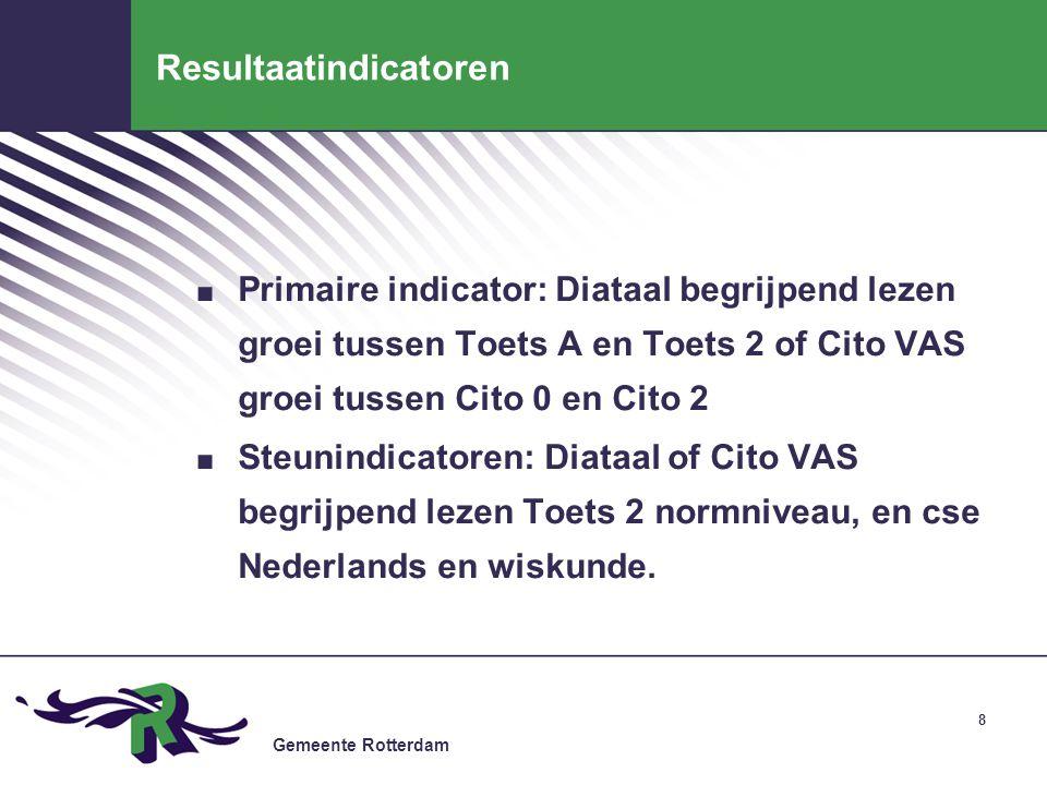 Gemeente Rotterdam 8 Resultaatindicatoren. Primaire indicator: Diataal begrijpend lezen groei tussen Toets A en Toets 2 of Cito VAS groei tussen Cito
