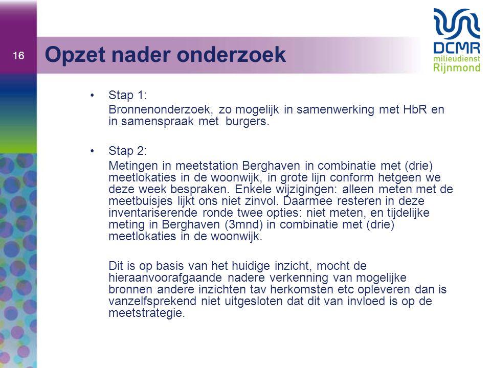 16 Opzet nader onderzoek Stap 1: Bronnenonderzoek, zo mogelijk in samenwerking met HbR en in samenspraak met burgers. Stap 2: Metingen in meetstation