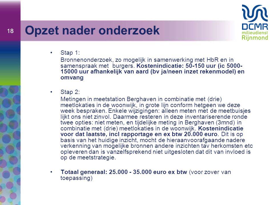 18 Opzet nader onderzoek Stap 1: Bronnenonderzoek, zo mogelijk in samenwerking met HbR en in samenspraak met burgers. Kostenindicatie: 50-150 uur (ic