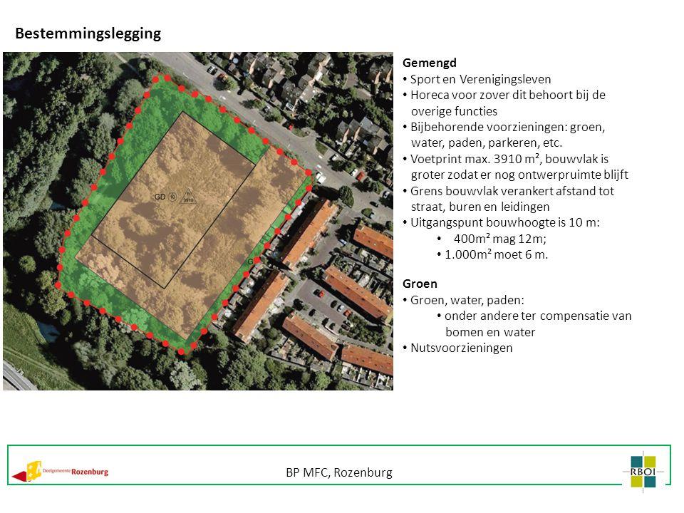 Bestemmingslegging Gemengd Sport en Verenigingsleven Horeca voor zover dit behoort bij de overige functies Bijbehorende voorzieningen: groen, water, p