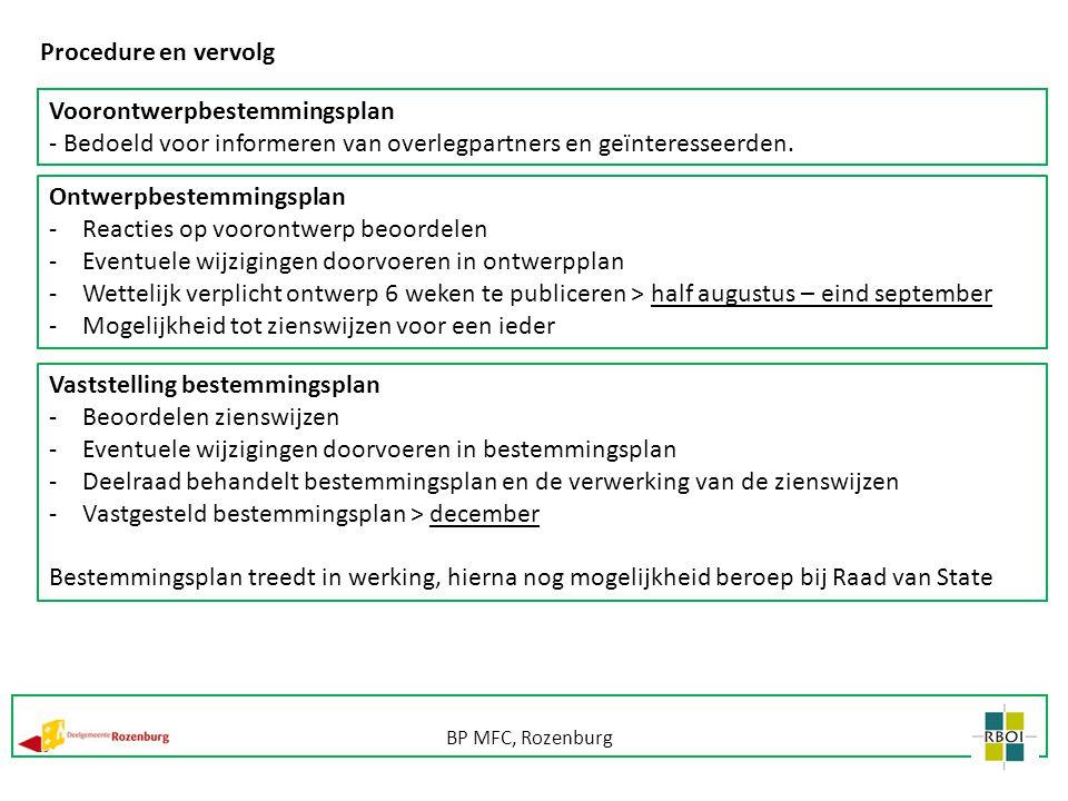 BP MFC, Rozenburg Procedure en vervolg Voorontwerpbestemmingsplan - Bedoeld voor informeren van overlegpartners en geïnteresseerden. Ontwerpbestemming