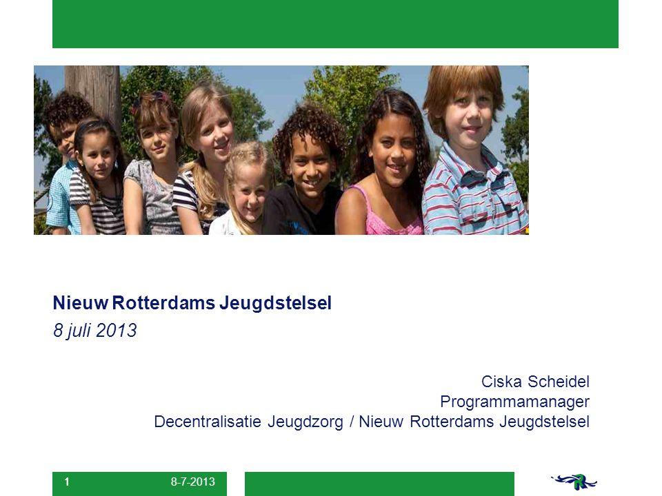 8 juli 2013 Nieuw Rotterdams Jeugdstelsel Ciska Scheidel Programmamanager Decentralisatie Jeugdzorg / Nieuw Rotterdams Jeugdstelsel 1 8-7-2013 1