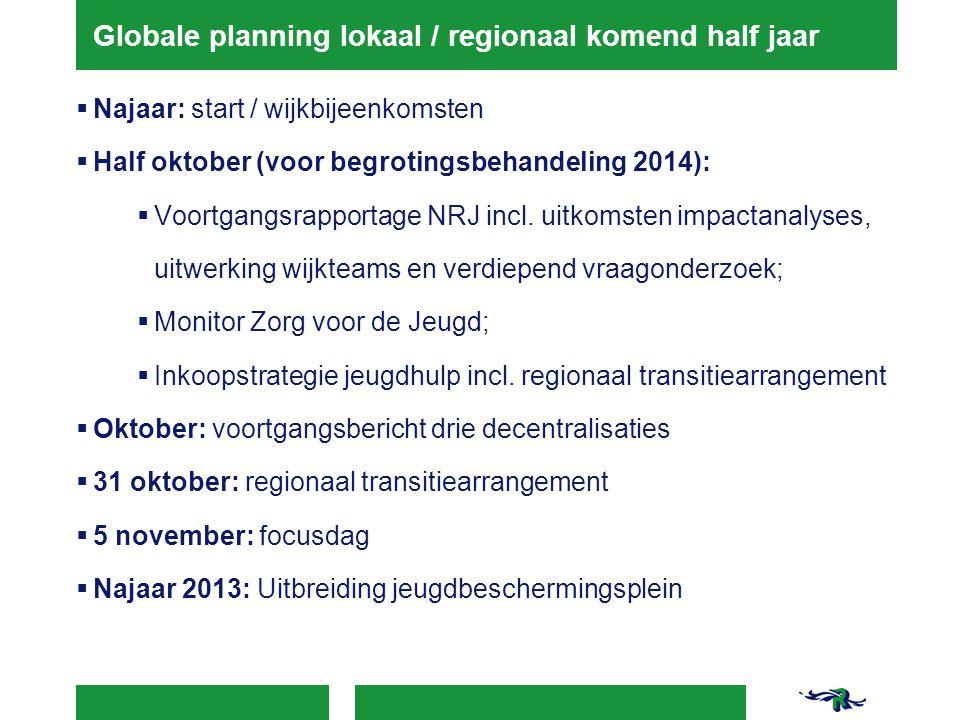 Globale planning lokaal / regionaal komend half jaar  Najaar: start / wijkbijeenkomsten  Half oktober (voor begrotingsbehandeling 2014):  Voortgangsrapportage NRJ incl.