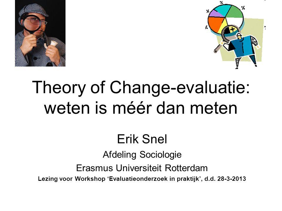 Theory of Change-evaluatie: weten is méér dan meten Erik Snel Afdeling Sociologie Erasmus Universiteit Rotterdam Lezing voor Workshop 'Evaluatieonderz