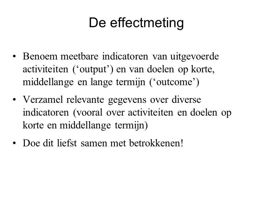 De effectmeting Benoem meetbare indicatoren van uitgevoerde activiteiten ('output') en van doelen op korte, middellange en lange termijn ('outcome') V