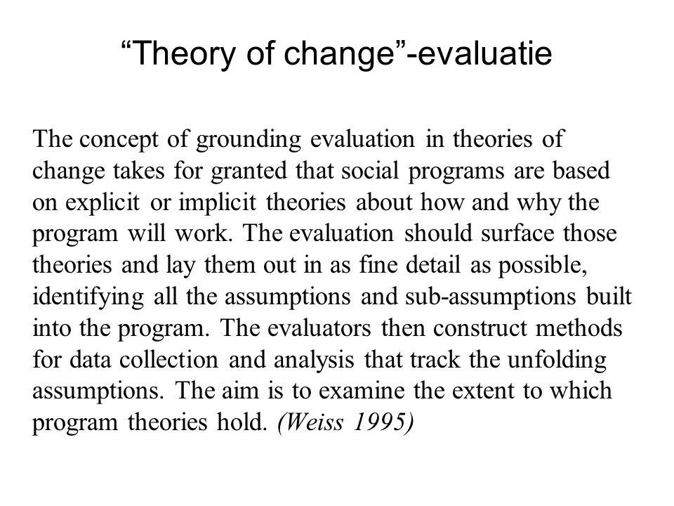 Theory of change -evaluatie ..a theory of how and why an initiative works (Carroll Weiss) Veranderingstheorieën in en van de praktijk (vgl.