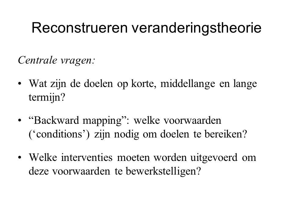 """Reconstrueren veranderingstheorie Centrale vragen: Wat zijn de doelen op korte, middellange en lange termijn? """"Backward mapping"""": welke voorwaarden ('"""