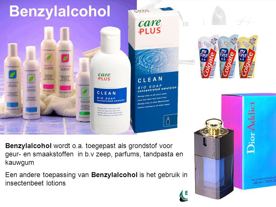 Benzylalcohol wordt o.a. toegepast als grondstof voor geur- en smaakstoffen in b.v zeep, parfums, tandpasta en kauwgum Een andere toepassing van Benzy
