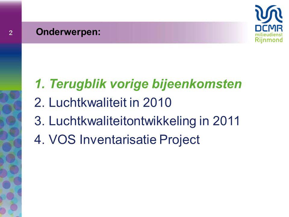 2 1.Terugblik vorige bijeenkomsten 2.Luchtkwaliteit in 2010 3.Luchtkwaliteitontwikkeling in 2011 4.VOS Inventarisatie Project Onderwerpen: