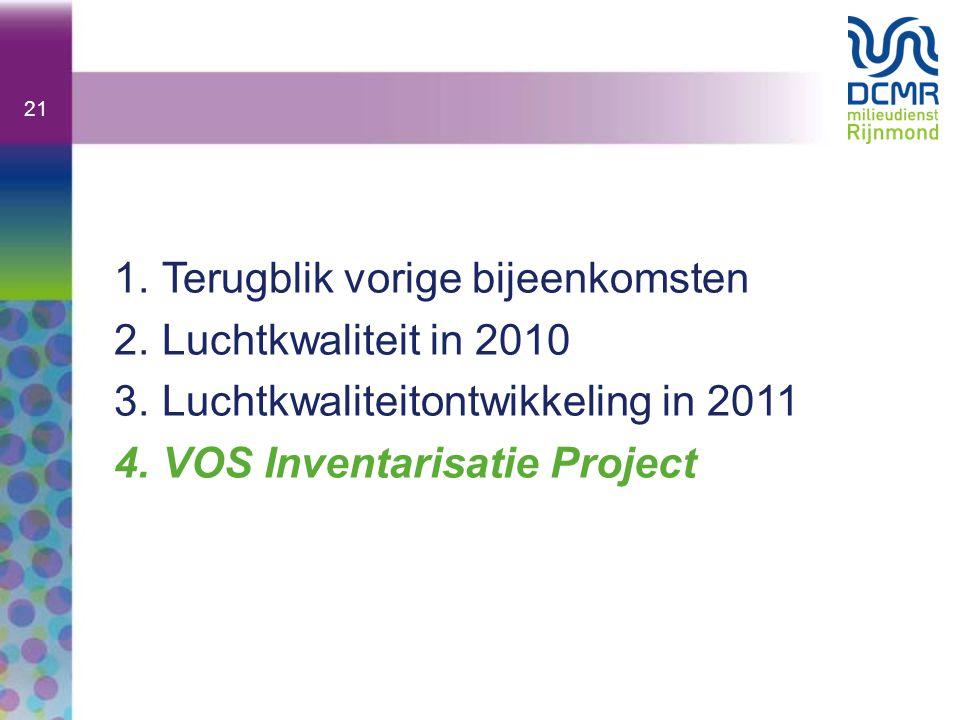 21 1.Terugblik vorige bijeenkomsten 2.Luchtkwaliteit in 2010 3.Luchtkwaliteitontwikkeling in 2011 4.VOS Inventarisatie Project