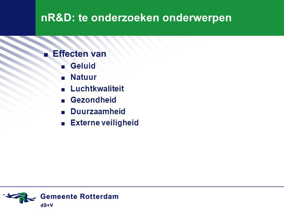 nR&D: te onderzoeken onderwerpen. Effecten van. Geluid. Natuur. Luchtkwaliteit. Gezondheid. Duurzaamheid. Externe veiligheid