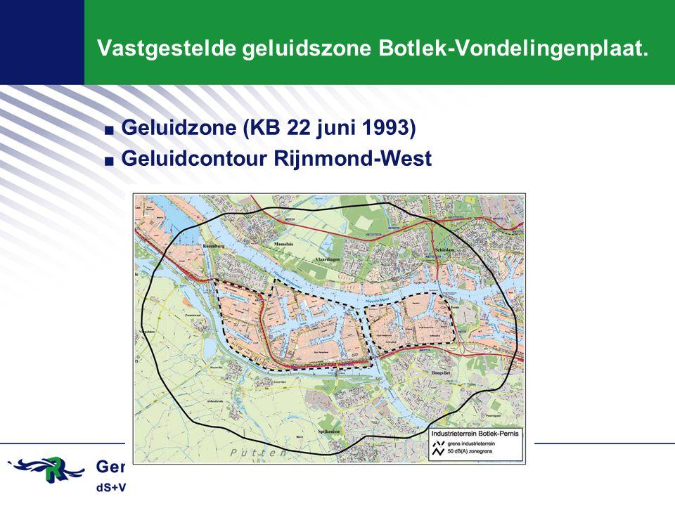 Vastgestelde geluidszone Botlek-Vondelingenplaat.. Geluidzone (KB 22 juni 1993). Geluidcontour Rijnmond-West