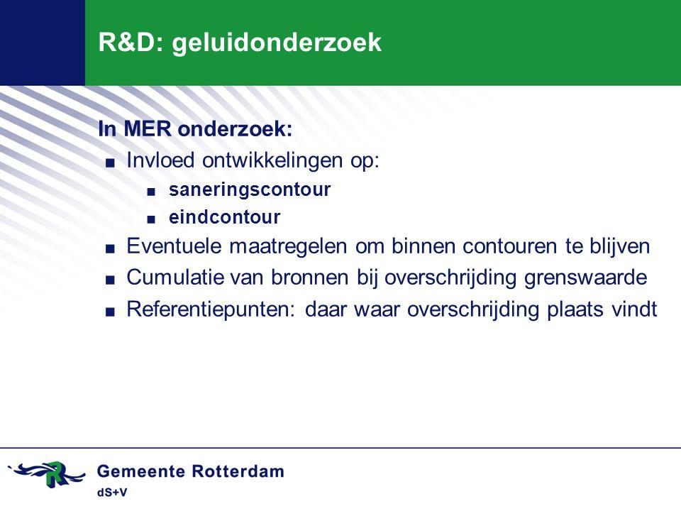 R&D: geluidonderzoek In MER onderzoek:. Invloed ontwikkelingen op:. saneringscontour. eindcontour. Eventuele maatregelen om binnen contouren te blijve