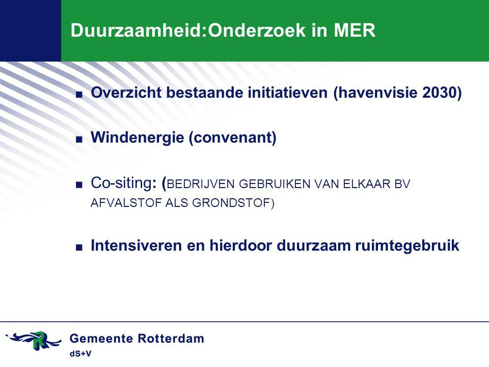Duurzaamheid:Onderzoek in MER. Overzicht bestaande initiatieven (havenvisie 2030). Windenergie (convenant). Co-siting: ( BEDRIJVEN GEBRUIKEN VAN ELKAA