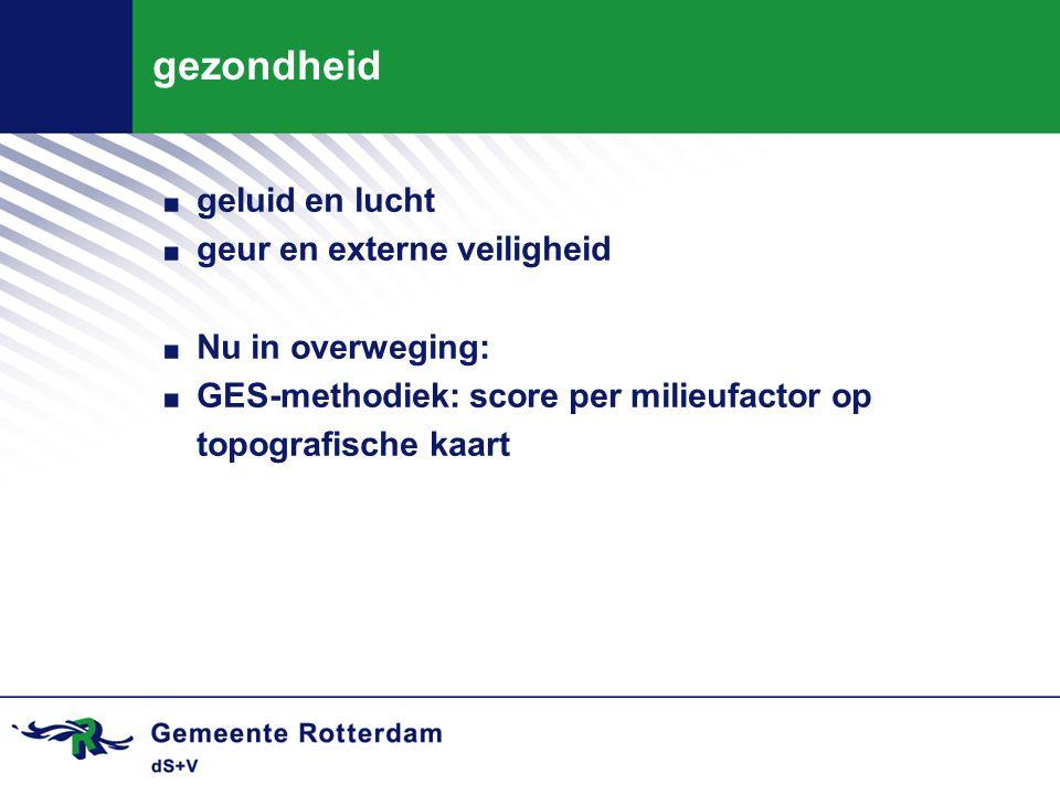 gezondheid. geluid en lucht. geur en externe veiligheid. Nu in overweging:. GES-methodiek: score per milieufactor op topografische kaart