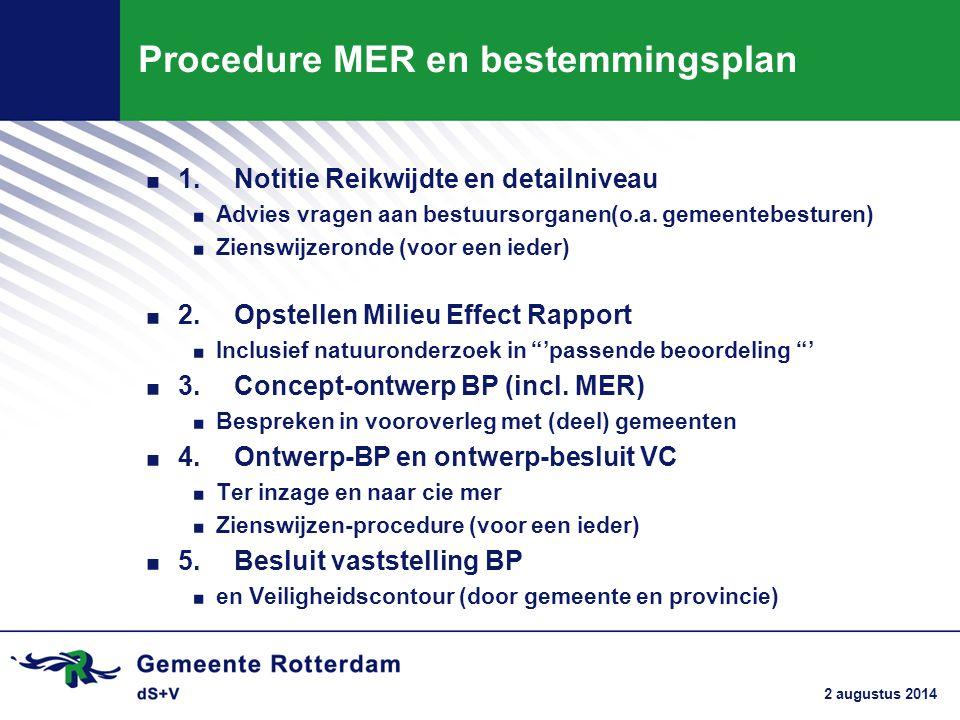 Procedure MER en bestemmingsplan. 1.Notitie Reikwijdte en detailniveau. Advies vragen aan bestuursorganen(o.a. gemeentebesturen). Zienswijzeronde (voo