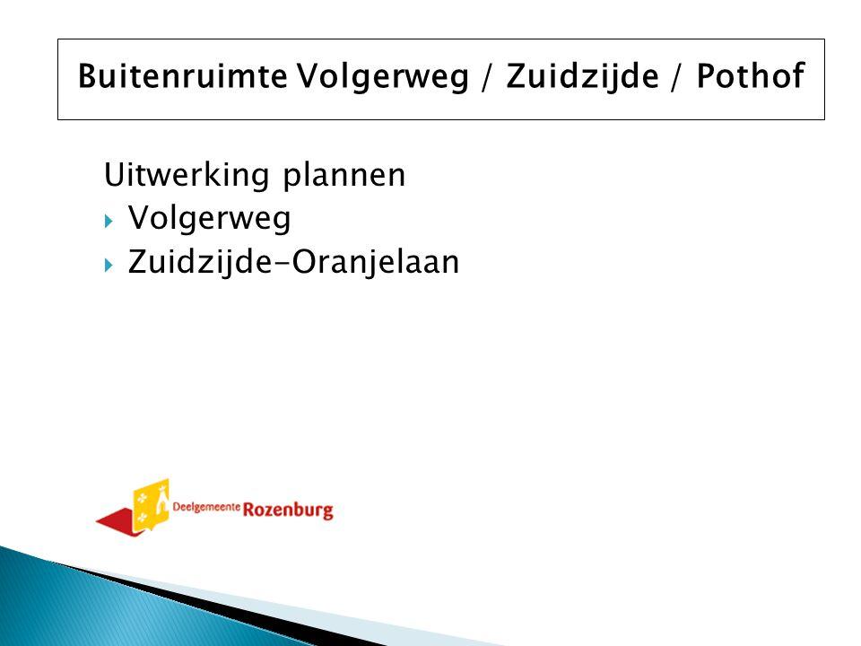 Uitwerking plannen  Volgerweg  Zuidzijde-Oranjelaan Buitenruimte Volgerweg / Zuidzijde / Pothof