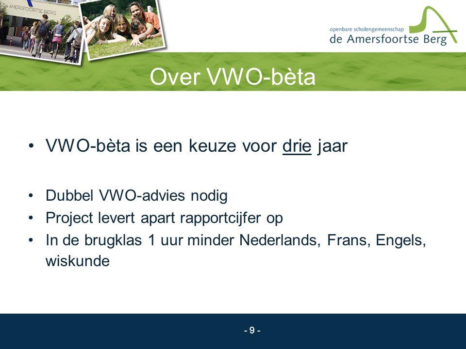 - 9 - Over VWO-bèta VWO-bèta is een keuze voor drie jaar Dubbel VWO-advies nodig Project levert apart rapportcijfer op In de brugklas 1 uur minder Ned