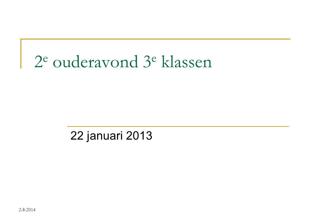 2-8-2014 2 e ouderavond 3 e klassen 22 januari 2013