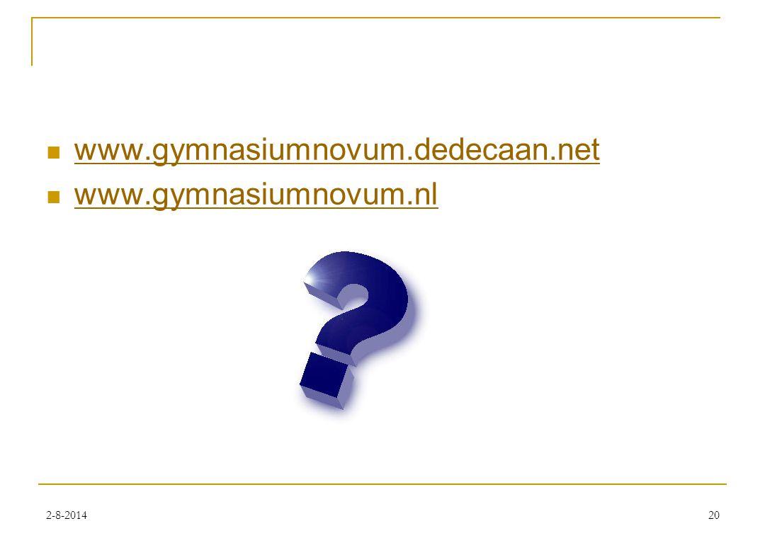 2-8-201420 www.gymnasiumnovum.dedecaan.net www.gymnasiumnovum.nl