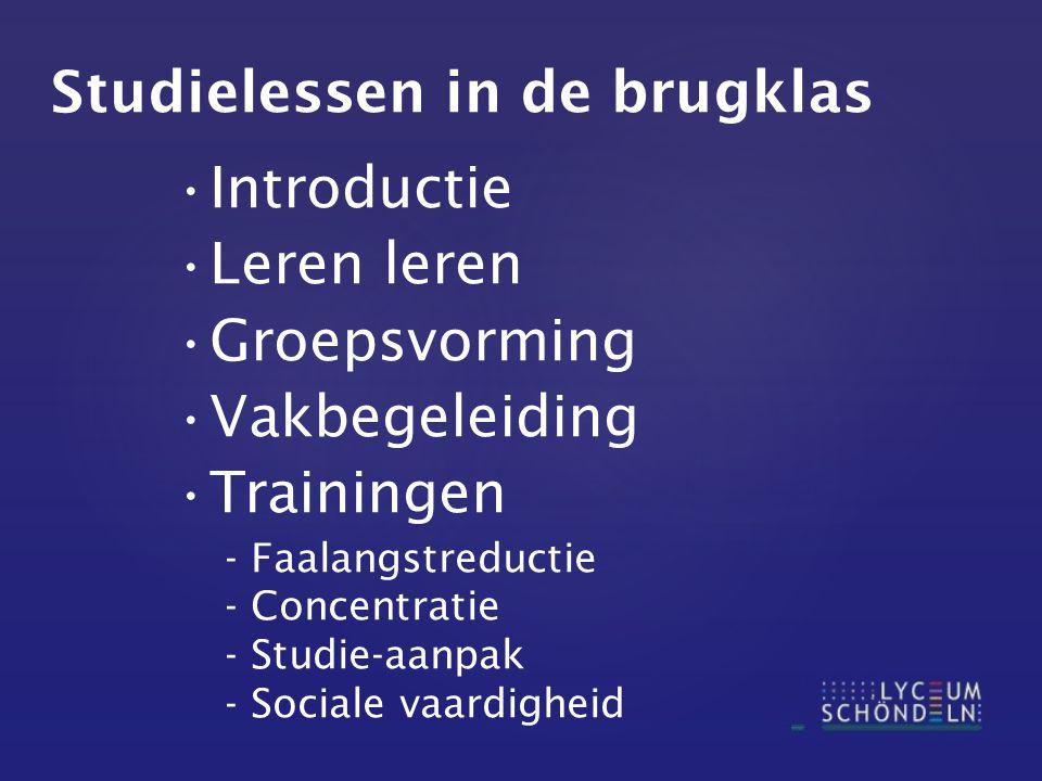 Studielessen in de brugklas Introductie Leren leren Groepsvorming Vakbegeleiding Trainingen - Faalangstreductie - Concentratie - Studie-aanpak - Sociale vaardigheid