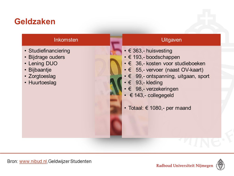 Geldzaken Inkomsten Studiefinanciering Bijdrage ouders Lening DUO Bijbaantje Zorgtoeslag Huurtoeslag Uitgaven € 363,- huisvesting € 193,- boodschappen