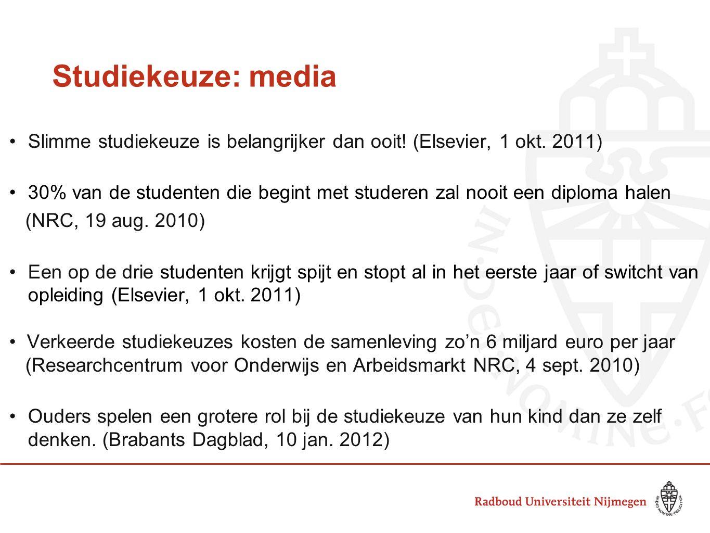 Studiekeuze: media Slimme studiekeuze is belangrijker dan ooit! (Elsevier, 1 okt. 2011) 30% van de studenten die begint met studeren zal nooit een dip