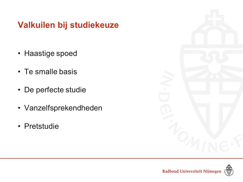 Valkuilen bij studiekeuze Haastige spoed Te smalle basis De perfecte studie Vanzelfsprekendheden Pretstudie
