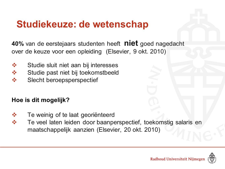 Studiekeuze: de wetenschap 40% van de eerstejaars studenten heeft niet goed nagedacht over de keuze voor een opleiding (Elsevier, 9 okt. 2010)  Studi