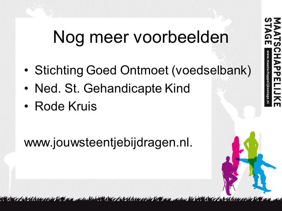 Nog meer voorbeelden Stichting Goed Ontmoet (voedselbank) Ned.