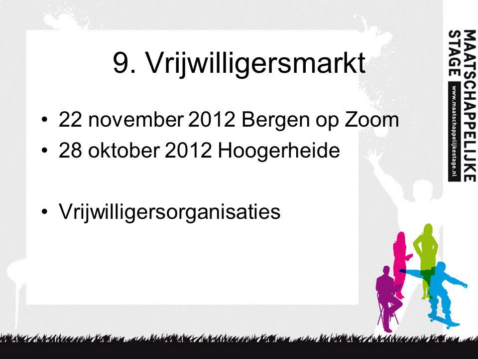 9. Vrijwilligersmarkt 22 november 2012 Bergen op Zoom 28 oktober 2012 Hoogerheide Vrijwilligersorganisaties