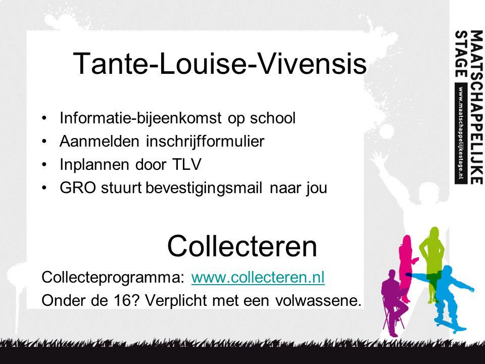 Tante-Louise-Vivensis Informatie-bijeenkomst op school Aanmelden inschrijfformulier Inplannen door TLV GRO stuurt bevestigingsmail naar jou Collecteren Collecteprogramma: www.collecteren.nlwww.collecteren.nl Onder de 16.