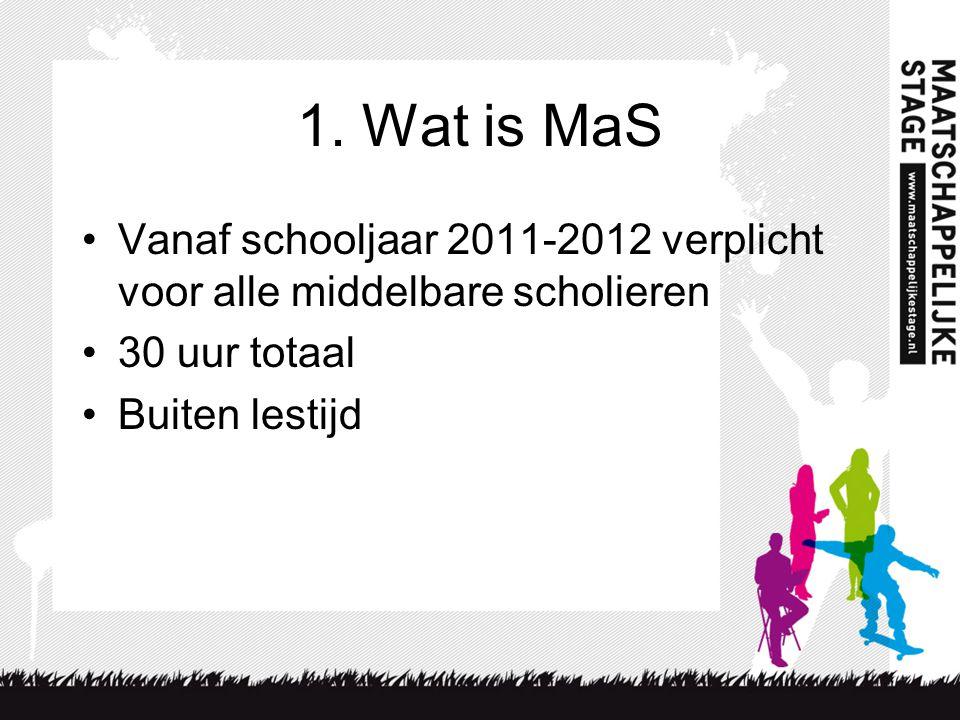 1. Wat is MaS Vanaf schooljaar 2011-2012 verplicht voor alle middelbare scholieren 30 uur totaal Buiten lestijd