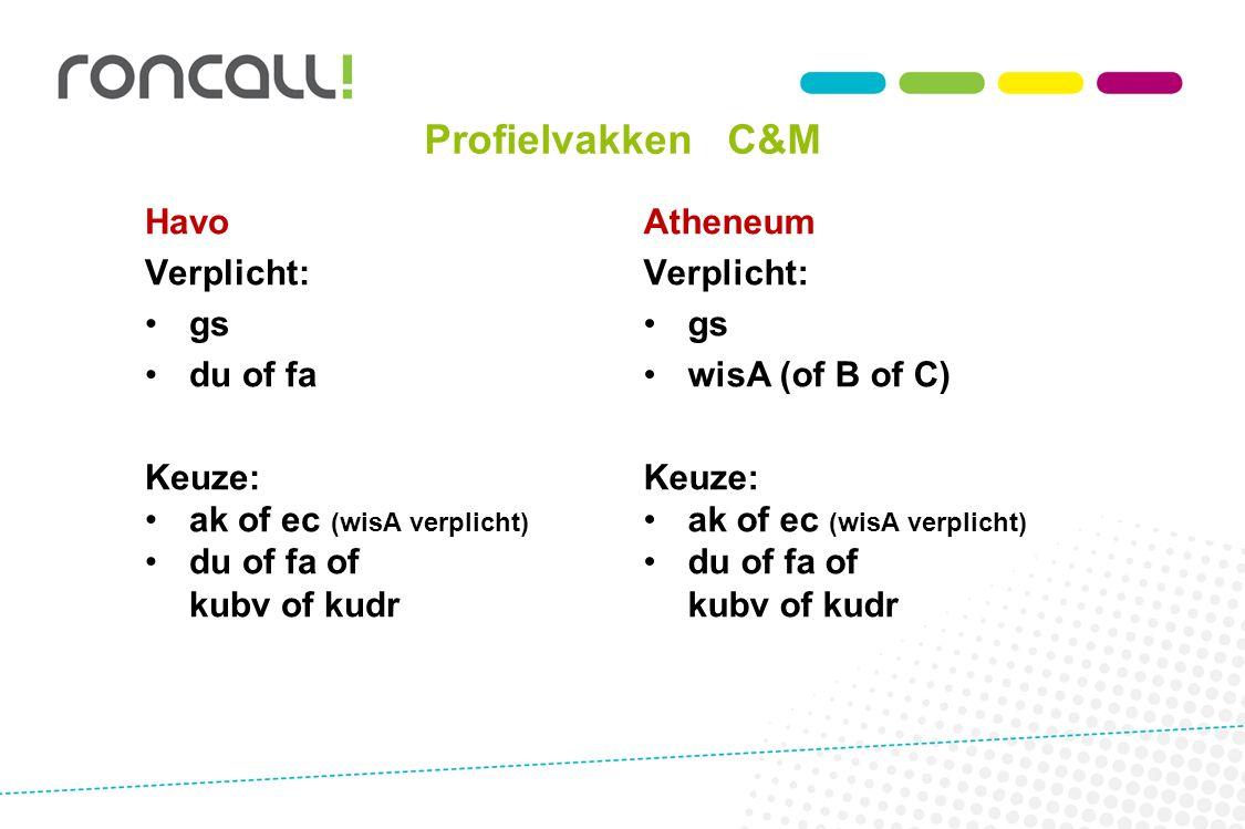 Profielvakken C&M Havo Verplicht: gs du of fa Keuze: ak of ec (wisA verplicht) du of fa of kubv of kudr Atheneum Verplicht: gs wisA (of B of C) Keuze: