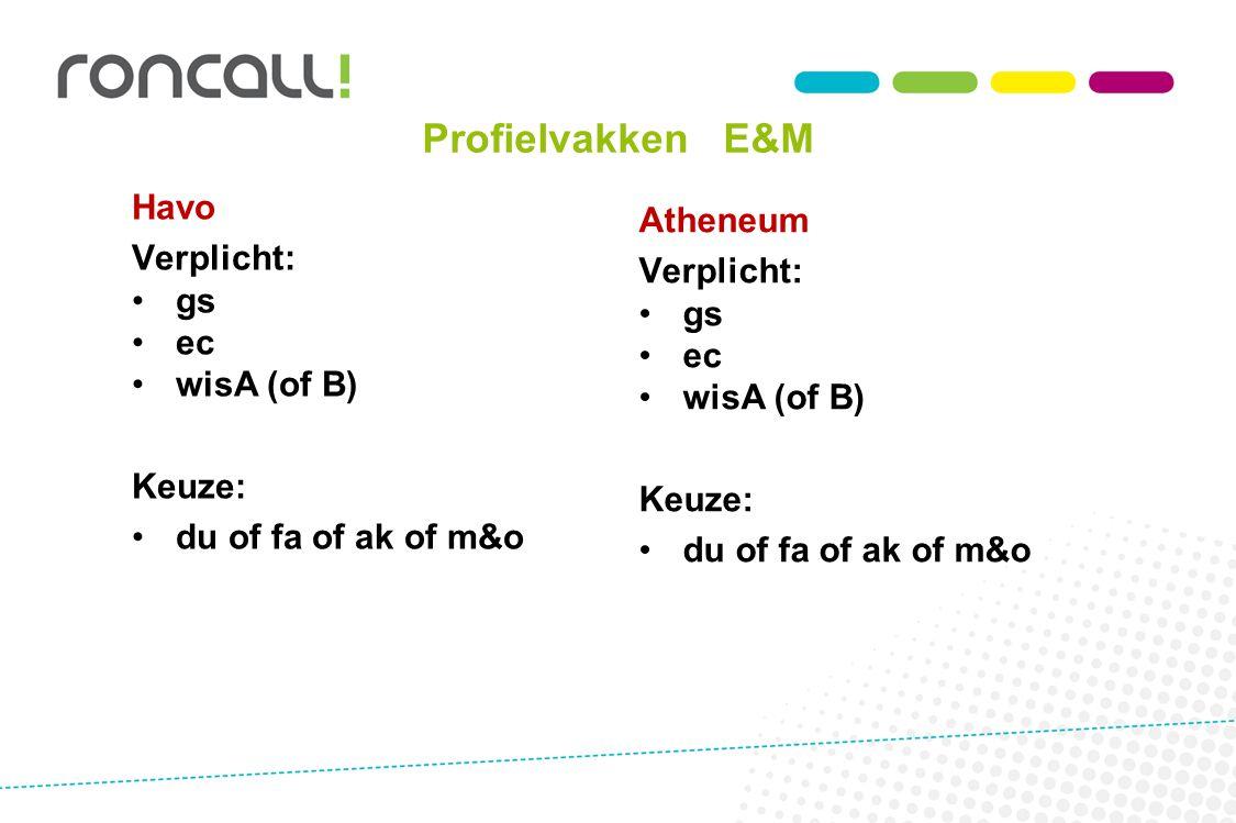 Profielvakken E&M Havo Verplicht: gs ec wisA (of B) Keuze: du of fa of ak of m&o Atheneum Verplicht: gs ec wisA (of B) Keuze: du of fa of ak of m&o