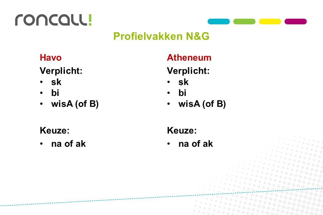 Profielvakken N&G Havo Verplicht: sk bi wisA (of B) Keuze: na of ak Atheneum Verplicht: sk bi wisA (of B) Keuze: na of ak