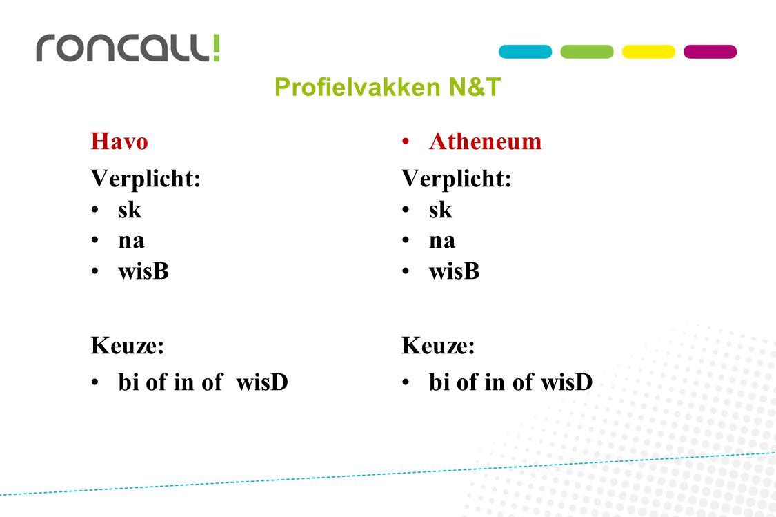Profielvakken N&T Havo Verplicht: sk na wisB Keuze: bi of in of wisD Atheneum Verplicht: sk na wisB Keuze: bi of in of wisD