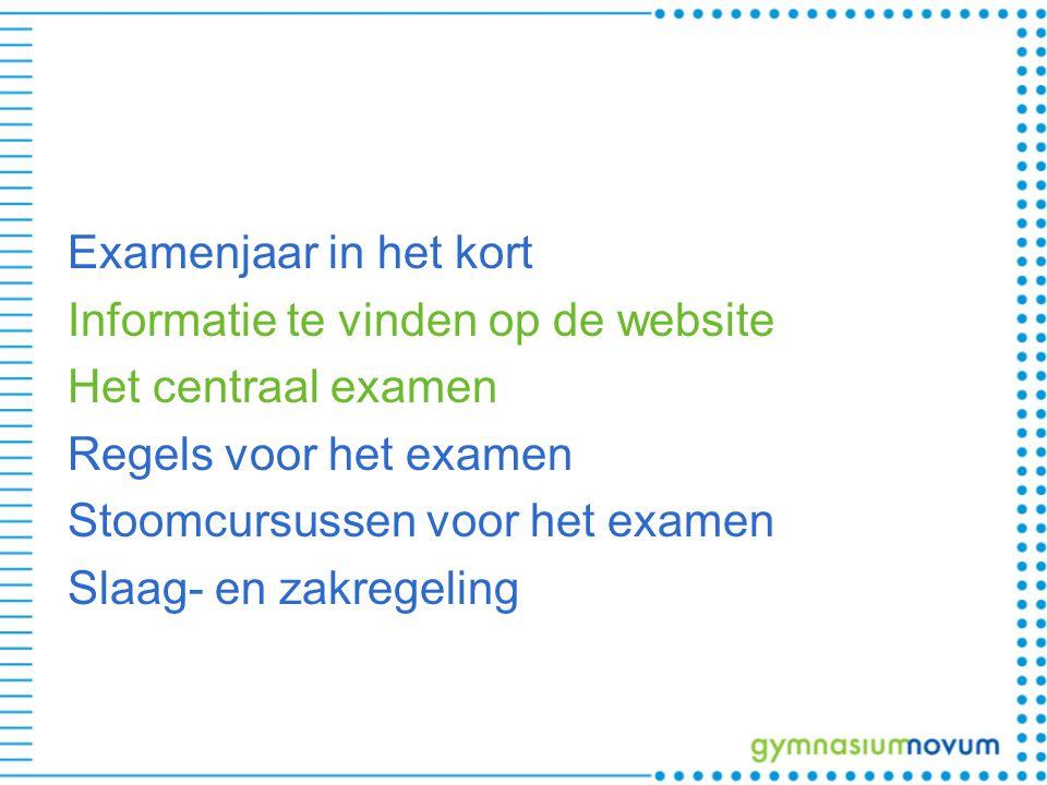 Examenjaar in het kort Informatie te vinden op de website Het centraal examen Regels voor het examen Stoomcursussen voor het examen Slaag- en zakregel