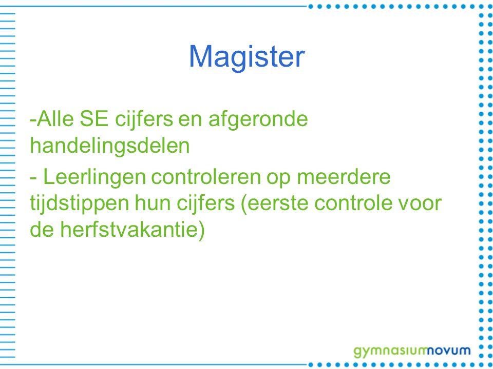 Magister -Alle SE cijfers en afgeronde handelingsdelen - Leerlingen controleren op meerdere tijdstippen hun cijfers (eerste controle voor de herfstvakantie)